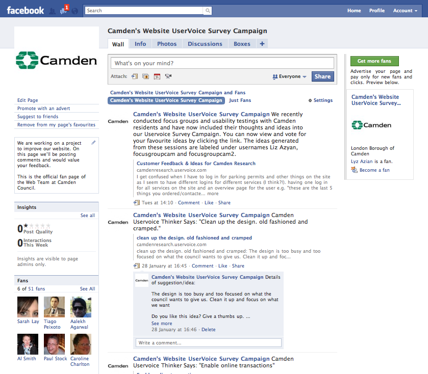 Using Facebook and Uservoice to gain users feedback