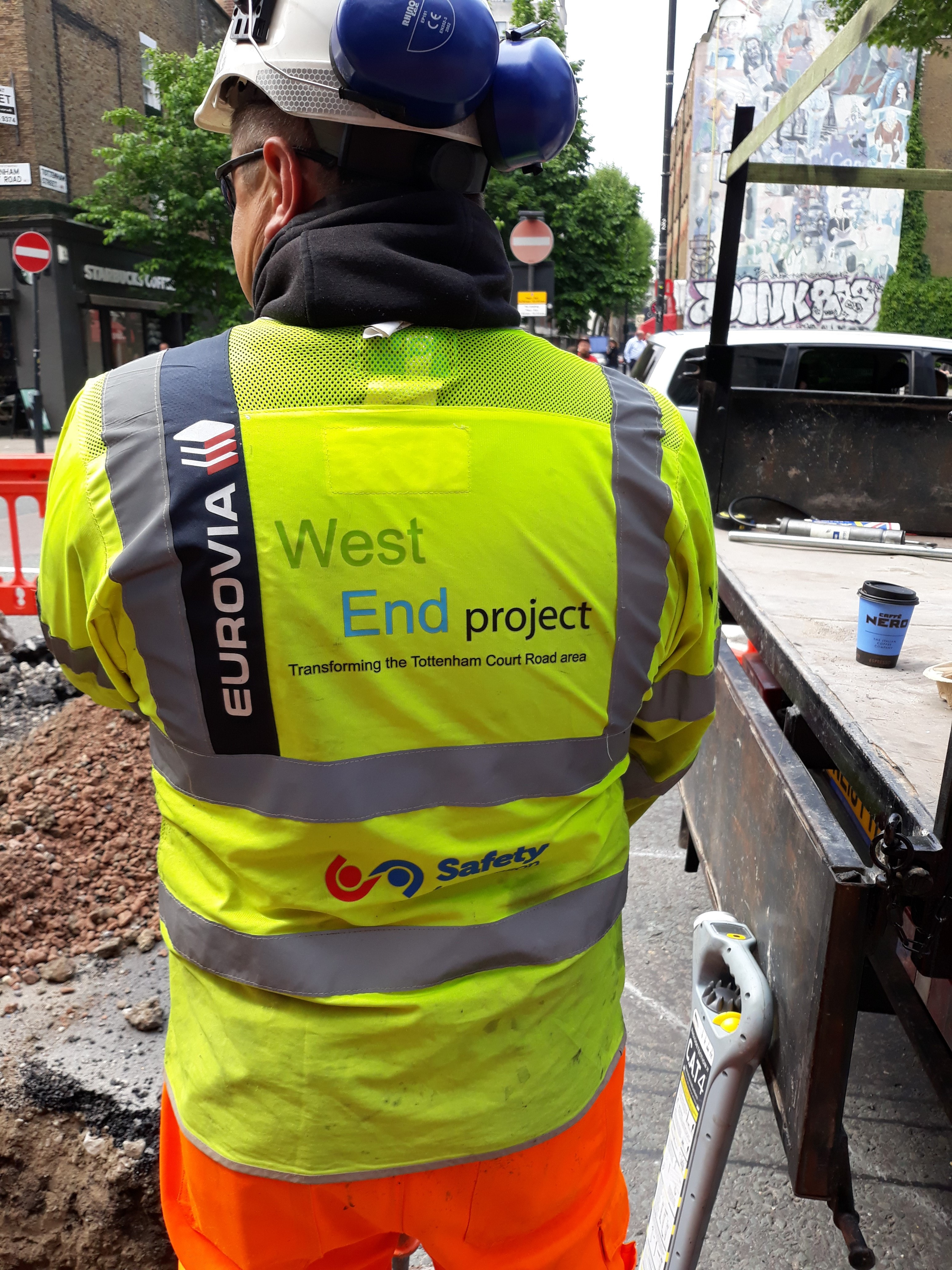 West End Project and Eurovia Logos on an operative's high vis vest