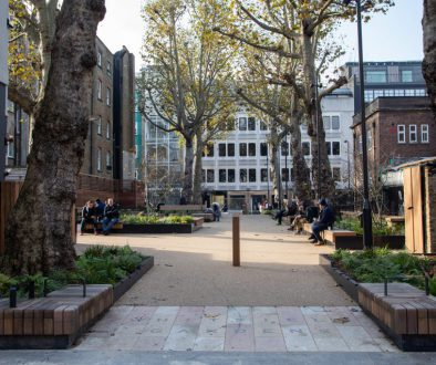 View of Whitfield Gardens after restoration - view towards Tottenham Street