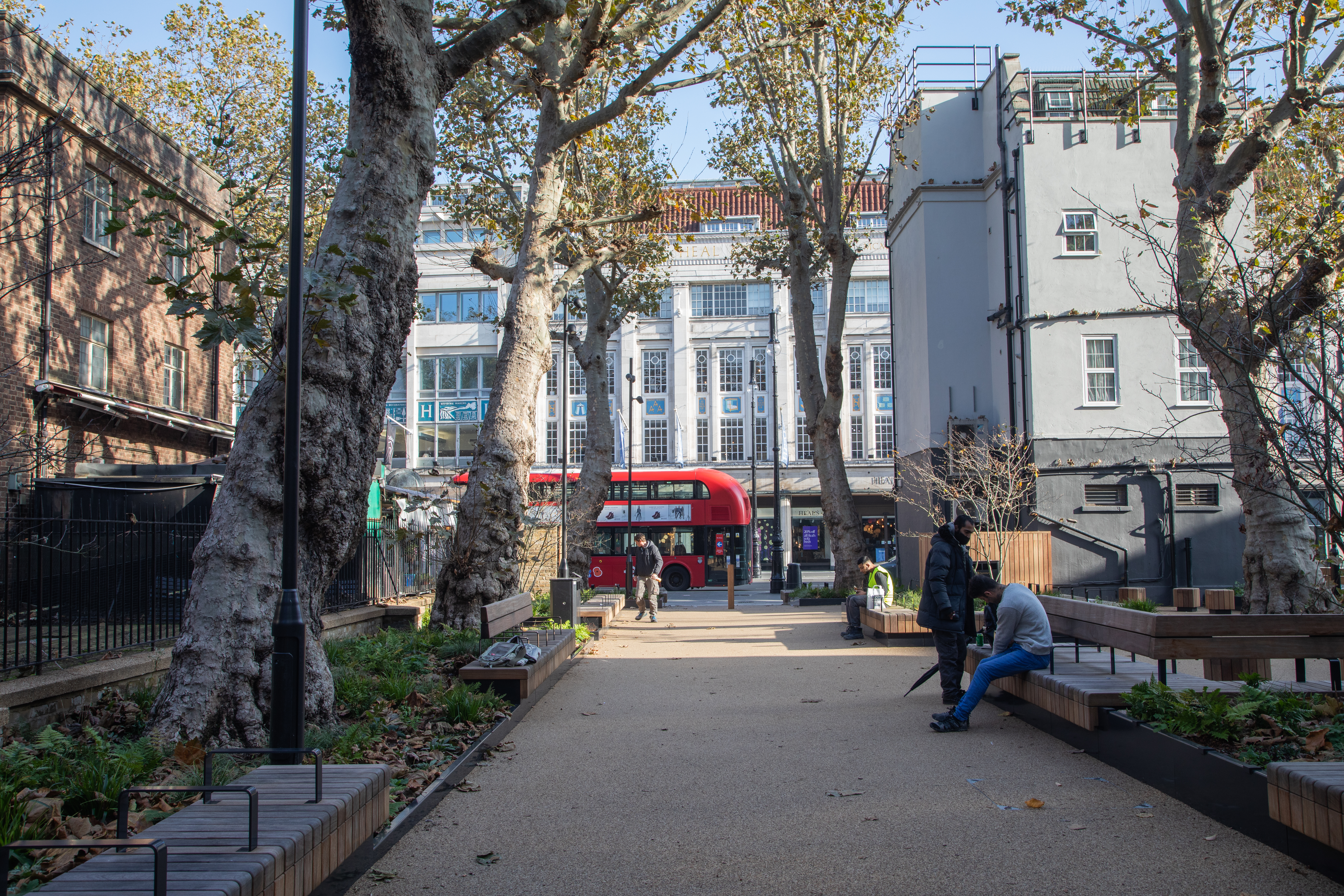 View of Whitfield Gardens after restoration to Tottenham Court Road