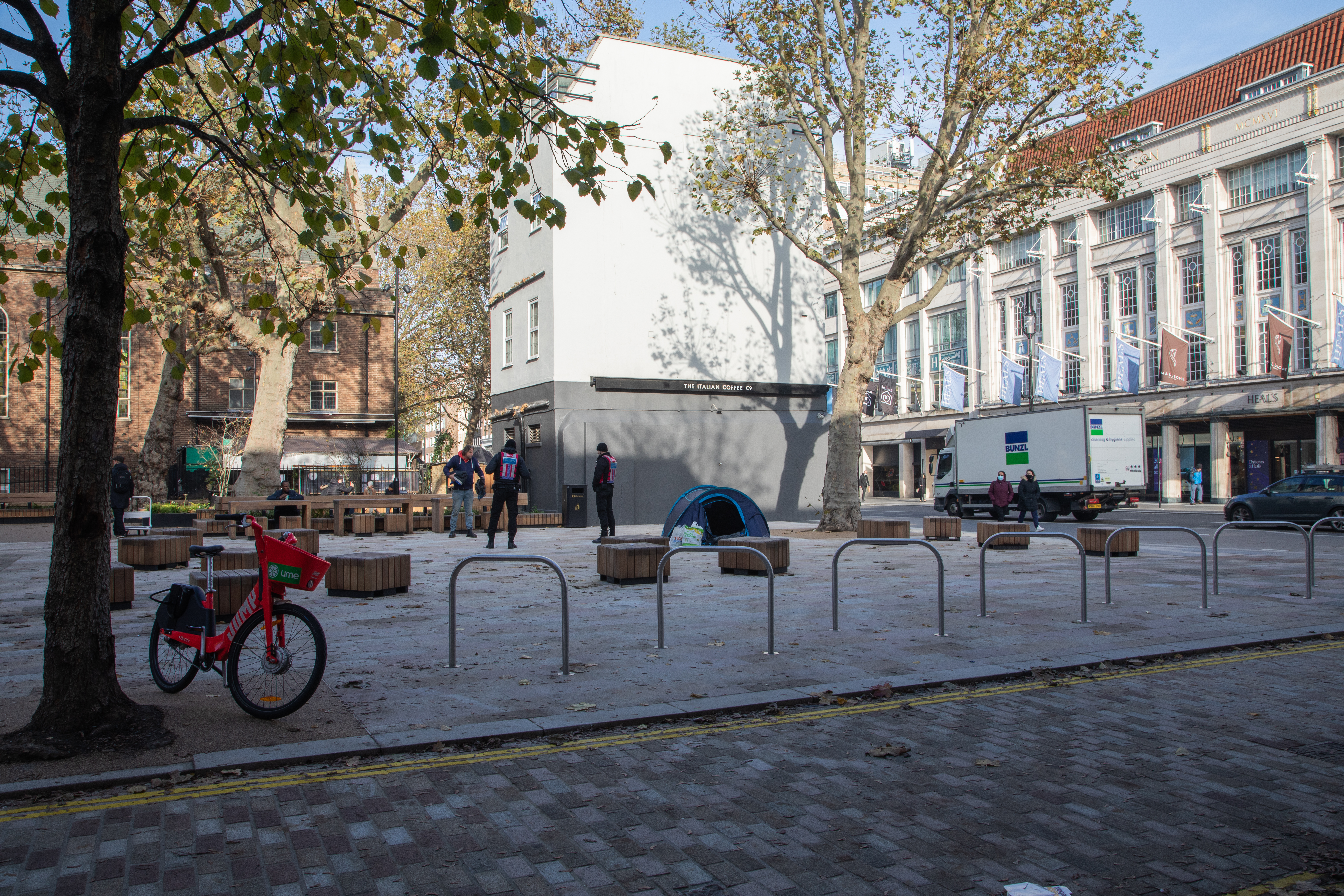 View of Whitfield Gardens after restoration showing new cycle hoops