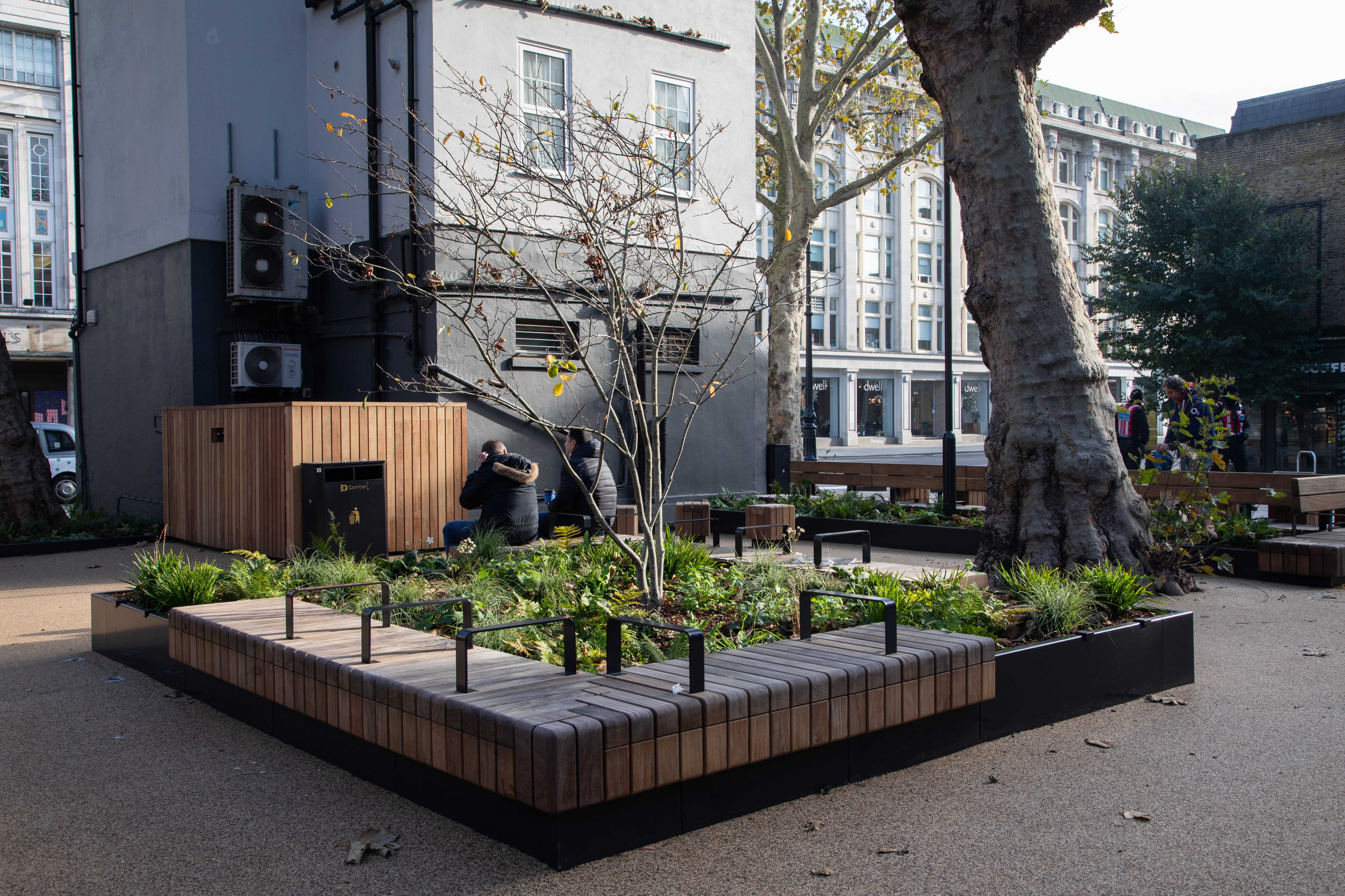 View of Whitfield Gardens after restoration showing new planting beds
